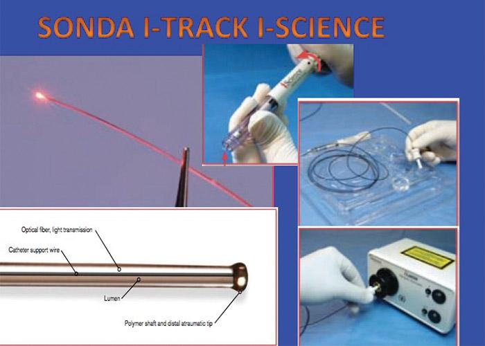 Fig. 1 Sonda iTrack 250 A; si nota in alto a sinistra la sonda con punta lampeggiante laser, che funge da guida, a destra il canale interno attraverso cui è possibile introdurre viscoelastico, in basso a destra la fonte luminosa laser.